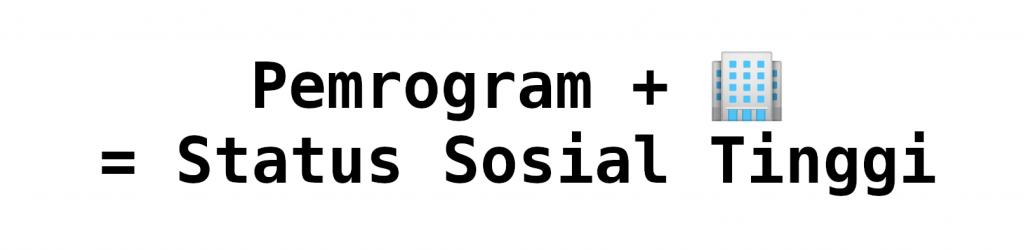Pemrogram + 🏢 = Status Sosial Tinggi