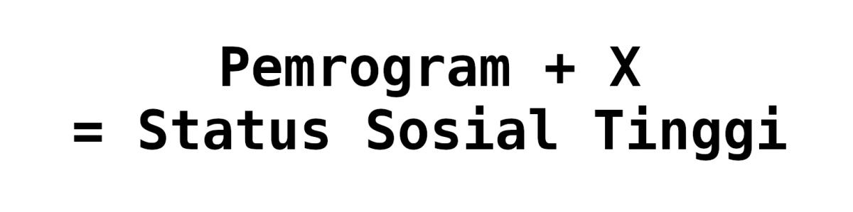 Pemrogram + X = Status Sosial Tinggi