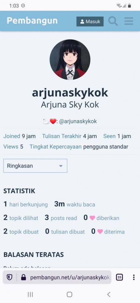 Profil arjunaskykok di Pembangun.net